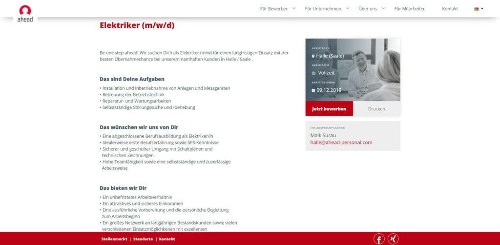 Screenshot einer Stellenausschreibung für Elektriker im Jobportal Ahead