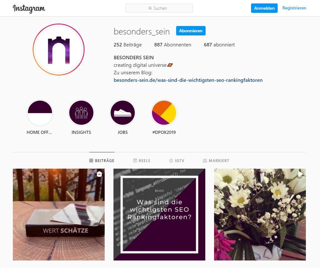 Das Profil von BESONDERS SEIN auf Instagram